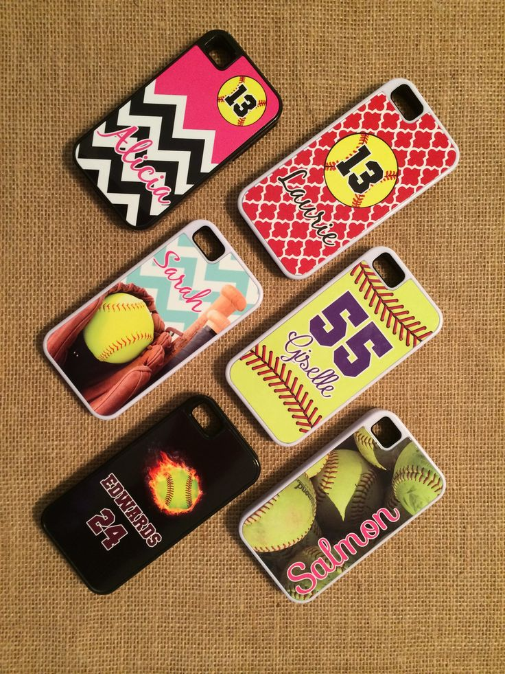 customized softball phone cases starting @ $25.00 get yours today! www.theoutpost.us