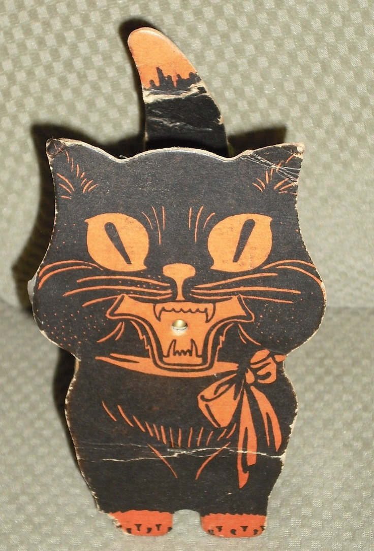 Vintage halloween paper decorations - Give Me All The Vintage Black Cat Things