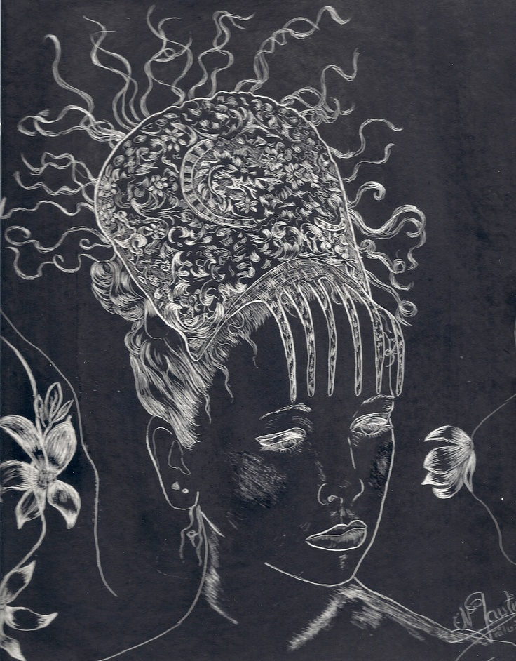 Création par grattage à la plume sur enduit noir ! Nathalie Gautier .