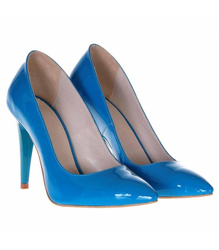 Pantofi Stiletto Piele Naturala Lacuita Albastru Turqoise - Cod S227