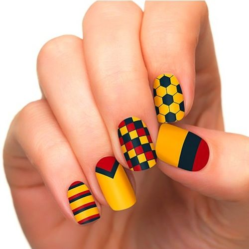 Complete World Cup Nail Art 2014 Gallery - #colombia #soccernails yellow, red and black
