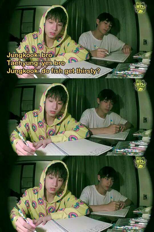 I laughed way harder than I should have; Kookie's innocent face is adorable but I can't tell if V is actually trying to figure out the answer or if he just lost brain cells from the stupidity of the question love these dorks ❤️❤️