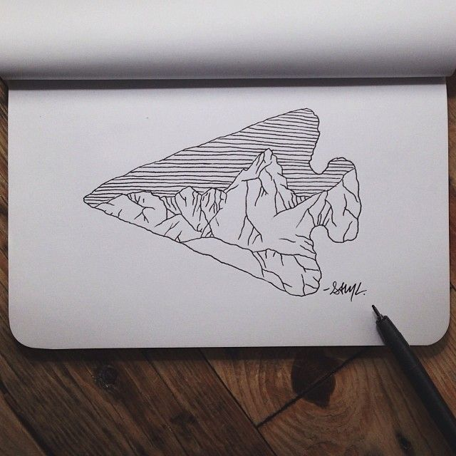 steelbison:  First sketch in my new @Shop Denik book. #art #arrowhead #denik