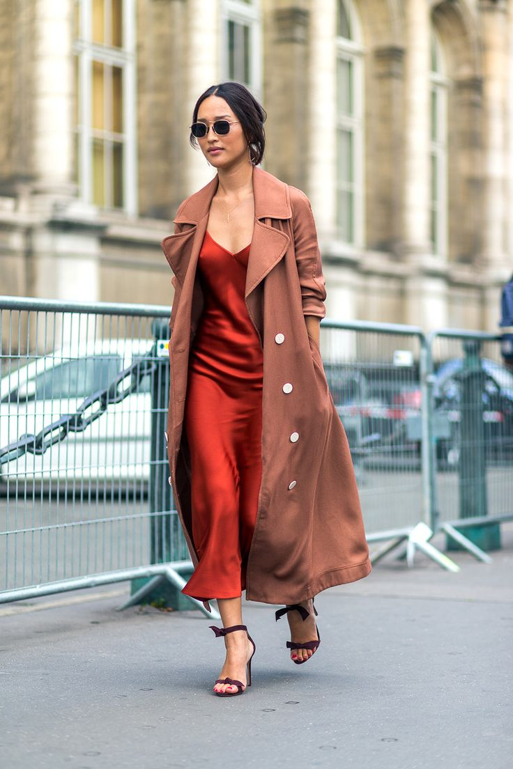 Nicole Warne in a Camilla and Marc coat and Protagonist dress with Alexandre Birman sandals