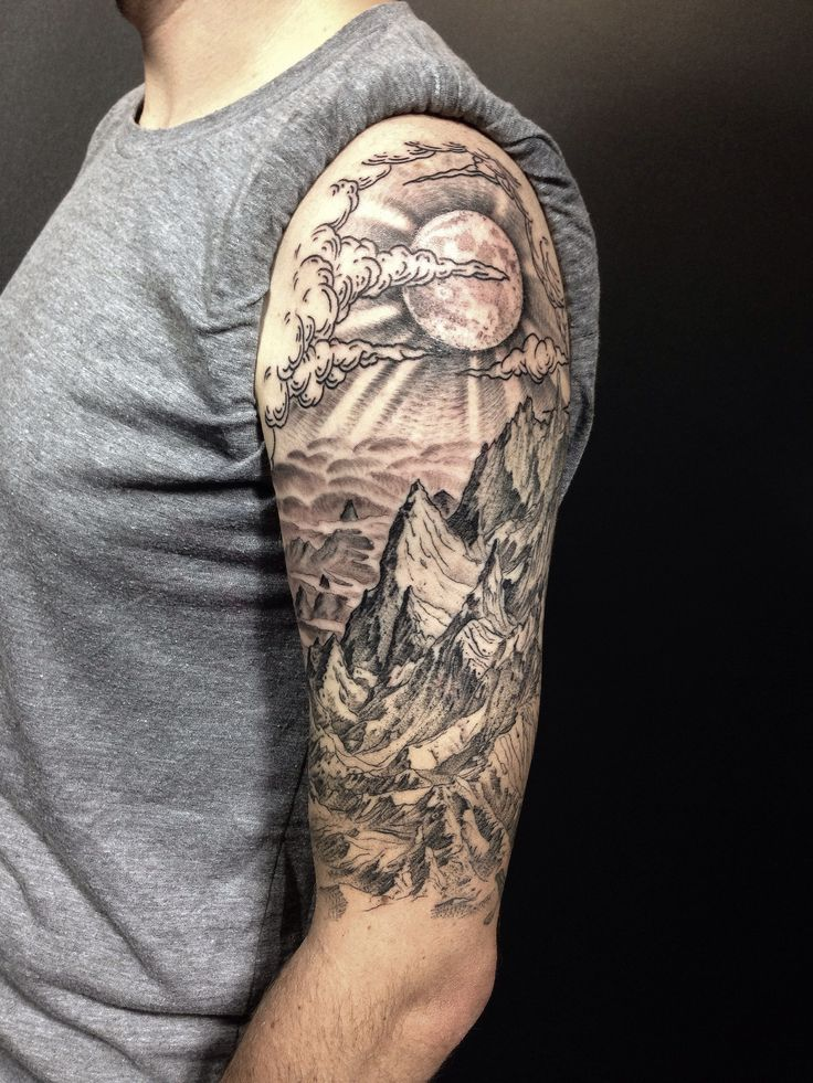 ALL DONE! completed Drew's mountain landscape half sleeve in only three sessions. very happy with how it turned out!   Flickr - Photo Sharing!