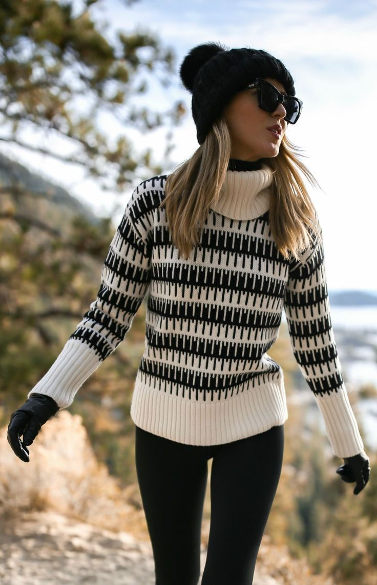 Click for outfit details //Black and white geometric turtleneck sweater, black fleece leggings, lace up winter boots with fur, high varsity socks, black beanie with pom, black gloves { Theory, James Perse, Free People, Le Specs, Sam Edelman, winter style, snow outfits, cold-weather fashion, lake tahoe, fashion blogger} #sweatersoutfit