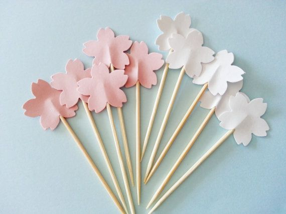 12 CHERRY BLOSSOM SAKURA Party Picks / Cupcake by naissance, $1.75