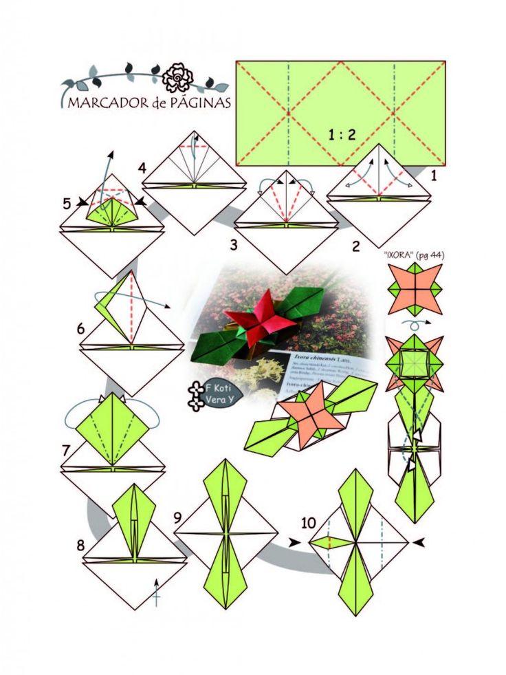MARCADOR DE PÁGINA com Flor Ixora - pg 91, do Livro Origami em Flor, de Flaviane Koti e Vera Young