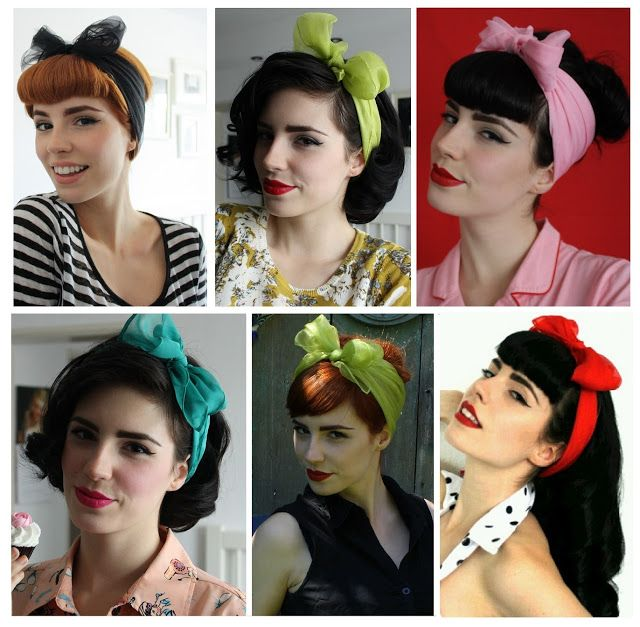 Different Pin Up Hair Looks Take A Scarf Wrap It Around Your Head And Tie A Bow For The Perfect Pin Up Hair Do Get The Look With Hair And