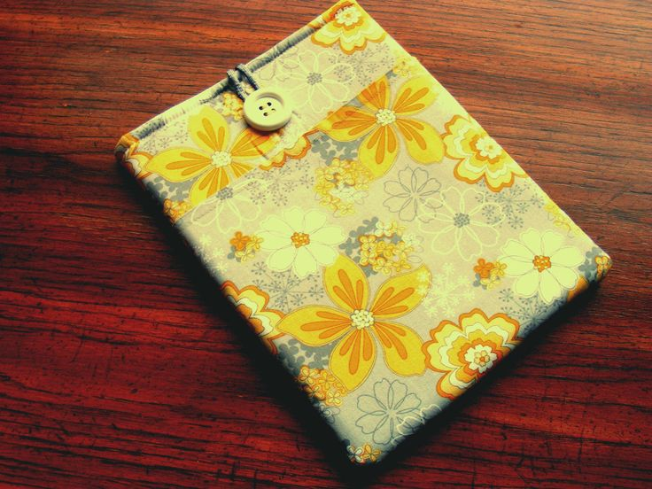 """IPad Pro Cover, IPad Pro Case, Nook HD Cover, Samsung Galaxy Tab2 Cover, IPad Pro 9 Cover, Grey and Yellow Floral Print, 10 1/4"""" x 7 1/2"""" by LindaLeasBoutique on Etsy"""