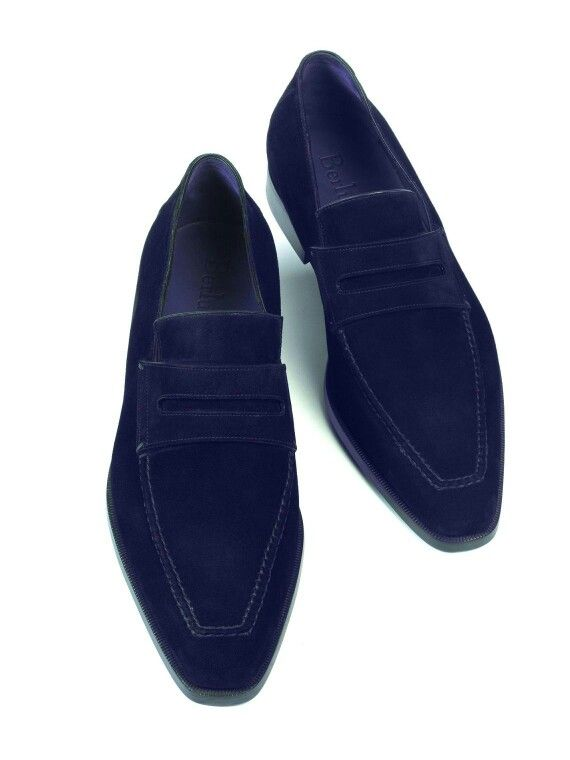 Mens navy blue slip on dress shoes