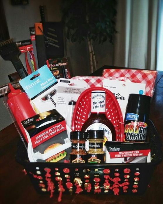 BBQ Gift Basket DIY    Is BBQ one of the major food groups in your home? Then this gift basket is perfect for your guy!