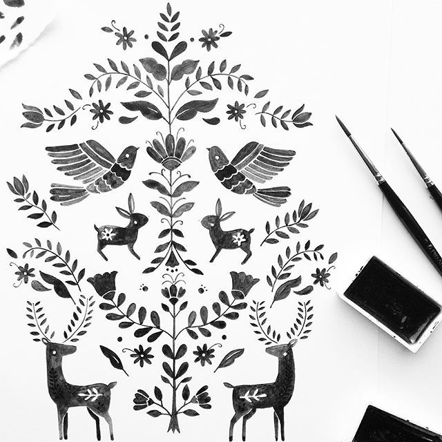 Monochrome otomi for October by Gemma Luxton