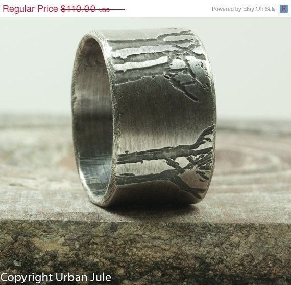 ON SALE Mens Wedding Band Tree Ring Sterling Silver Ring Etched Trees Unisex Rustic Tree Ring Promise Ring for HIm Mens Single Band