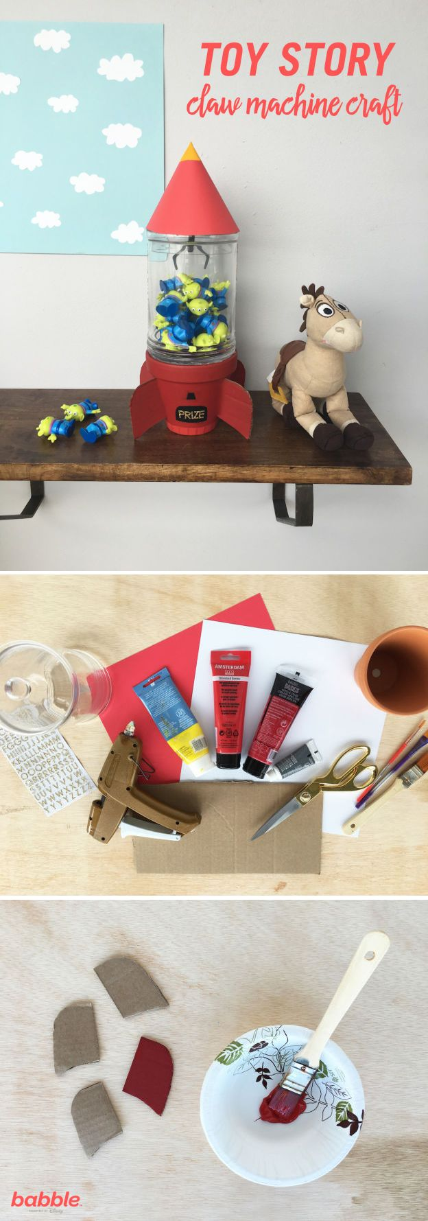 This craft is so perfect! Not only does it make for adorable kids room decor, but it's also functional as a toy storage container. With a little paint, cardboard, and card stock, you can transform a flower pot and apothecary jar into a mini DIY Toy Story Claw Machine. This adorable Disney DIY will instantly make cleanup time fun for the kids.