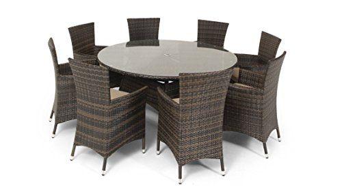 All Weather Rattan LA California 8 seat round Garden Furniture Set inc parasol