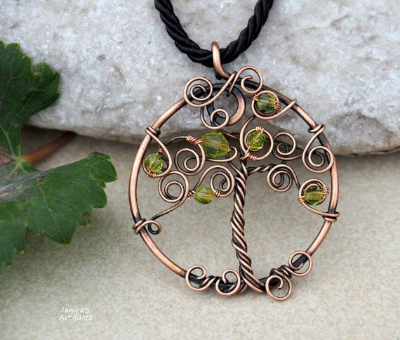 Tree necklace/Tree pendant/Wire tree necklace/Fall necklace/Copper wire tree/Green necklace/Yoga necklace/Gifts/Mother's day gift/Healing
