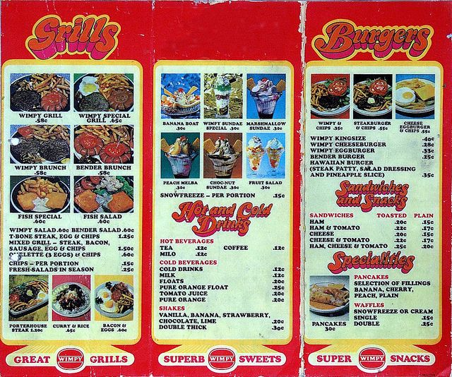 Wimpy menu 1972.    This was the country's first fast food chain, and opened its first outlet in 1967.Cape Towns 's first one was in Strand street See here www.flickr.com/photos/8270787@N07/3355759827/in/set-72157...