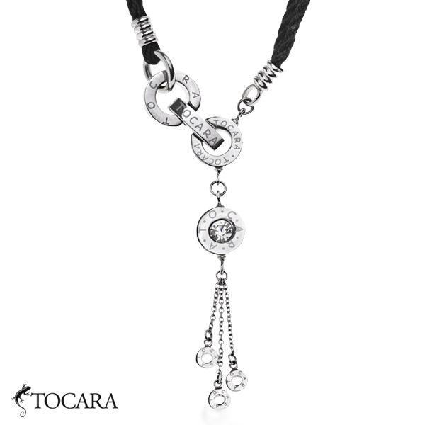 Tocara Lena Necklace. Contemporary design  made out of stainless steel and black nylon cord.