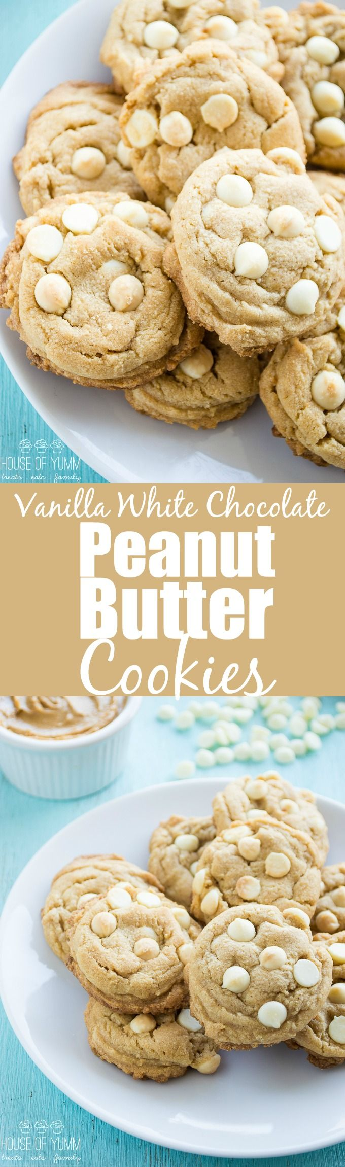 Vanilla White Chocolate Peanut Butter Cookies - Soft and Chewy!  A classic peanut butter cookie, and tweaked it slightly to load up on white chocolate and vanilla.