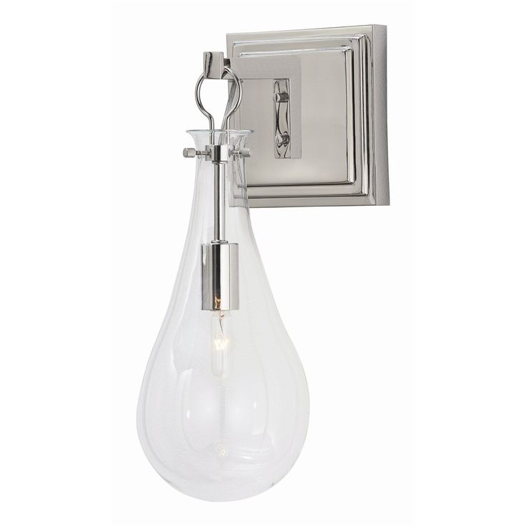 Sabine Sconce H: 15in W: 6in D: 8in The clear teardrop glass shade houses the bulb of your choice as it is suspended from a square polished nickel back plate. Mount multiples down a hallway to create drama.