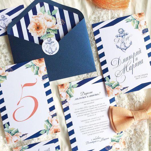 Свадебные аксессуары ручной работы. Ярмарка Мастеров - ручная работа. Купить Акварельные свадебные темно-синие приглашения в морском стиле. Handmade.