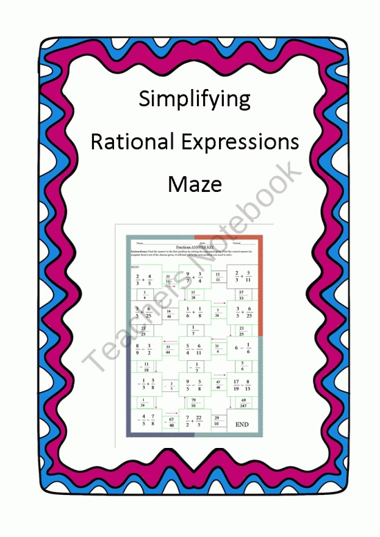 Simplifying Rational Expressions - Maze product from 4-The-Love-of-Math on TeachersNotebook.com