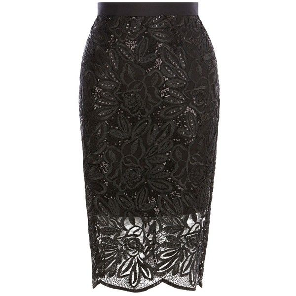 Coast Lillian Lace Pencil Skirt, Black ($89) ❤ liked on Polyvore featuring skirts, sequin skirt, knee length lace skirt, coast skirts, lace skirt and pencil skirt