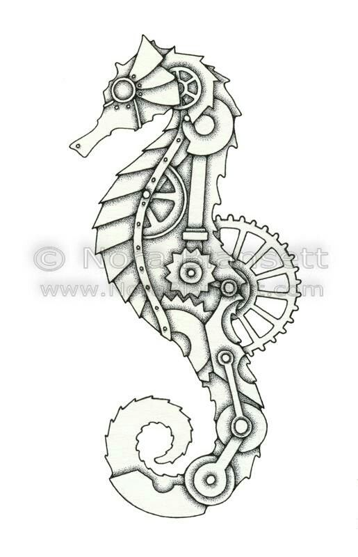 Steampunk seahorse inspiration for tattoos pinterest for Easy steampunk ideas