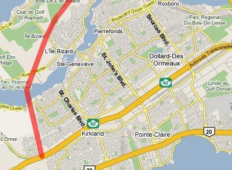 West Island extension of the 440 as planned in the 60s --- Section originalement planifiée dans les années 60