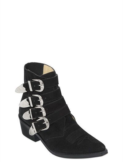 TOGA PULLA - 50MM SUEDE BOOTS W/ BUCKLES - BLACK