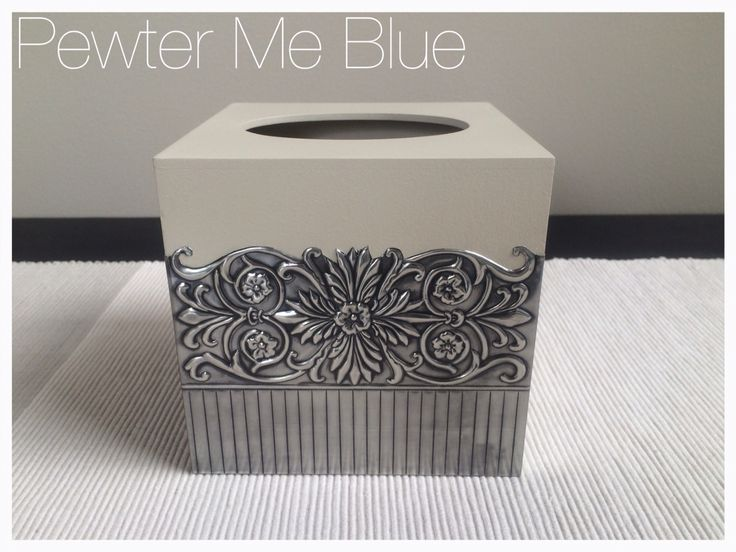 Pewtered tissue box by Yvonne Botha www.fb.com/mimmicgalleryandstudio www.mimmic.co.za