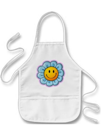 """For the Smiley Riley chef or artist in the house. Painting, drawing, crafts, cooking – all great activities for kids, but hard on clothes. This kid-length apron will keep your child clean. It's got two center pockets for holding all their stuff, is made from a 35/65 cotton-poly blend twill and is machine washable. The apron is 20"""" L x 15"""" W and available in 3 great colors - white, khaki and yellow with the genuine Smiley Riley Sunflower. Suggested age range 5-12 years."""