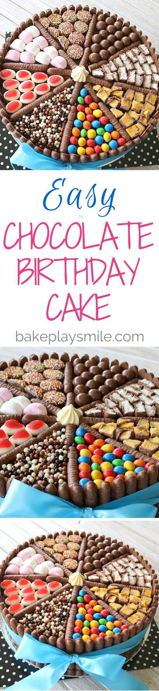 An easy chocolate birthday cake decorated with chocolate biscuits, lollies…