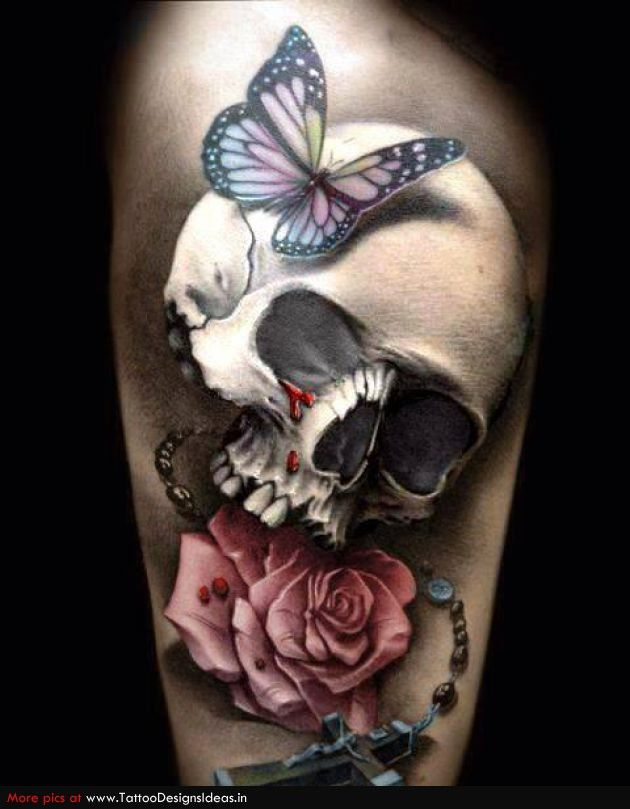 Awesome 3D Skull Tattoo