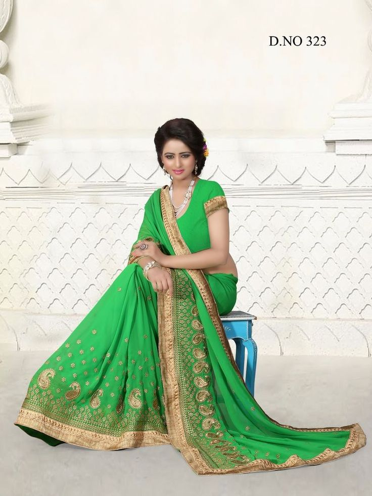 Indian wedding wear saree designer bollywood green sari stitched blouse freeship #Handmade #Saree