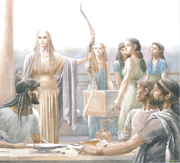 "Penelope Offers an Archery Contest to the Suitors. ""Then into the hall came Penelope, bearing (Odysseus') great horn bow and quiver well stocked with arrows, followed by her women carrying her chest with the twelve axes.""  - Rosemary Sutcliff (Alan Lee/Homer's Odyssey, Book 21/user: Aethon)"