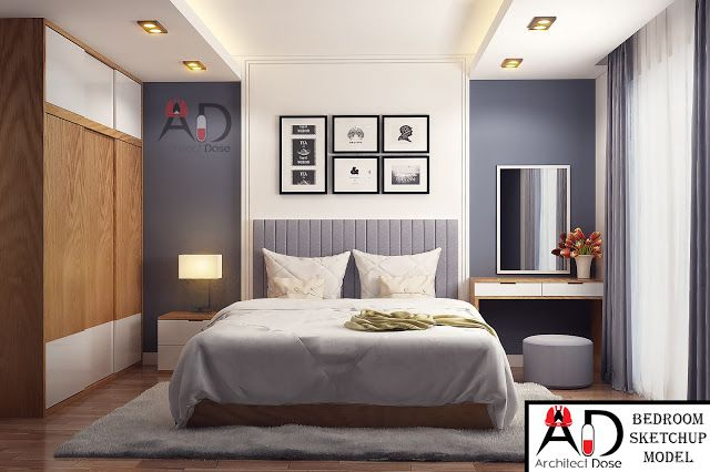 Bedroom Sketchup Model to download click here : https://architectdose.blogspot.com/2016/12/bedroom-sketchup-model.html #Sketchup #Bedroom #Models