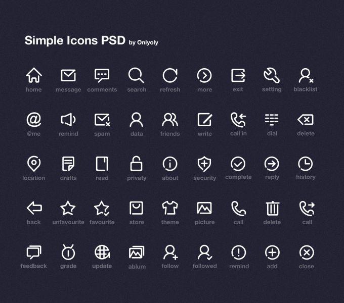 Simple Icon Set - 365psd