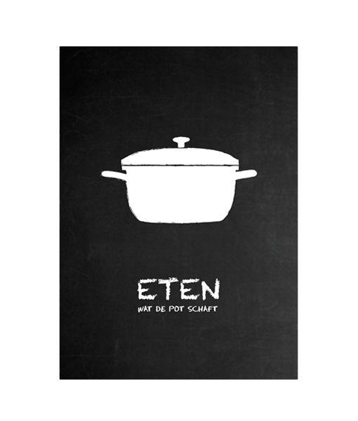 Eten poster and google on pinterest - Betegeld zwart wit geblokte keuken ...