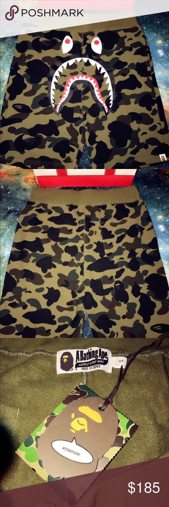 Bape Green 1st Camo Shark shorts Brand new with tags, invoice and dust bags. Purchased from Shibuya Bape store directly. A 4-year E-Commerce seller. Reliable and trusted. Feel free to contact me. Bape Shorts Athletic