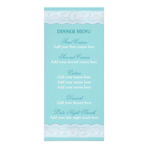 Mint lace menu Wedding dinner menu template