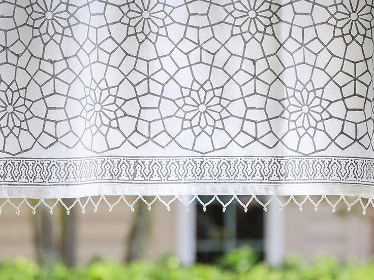 Beautiful Moroccan valance- want for bathroom window!  Gray White valance, Geometric valance, Moroccan trellis beaded valance   Saffron Marigold