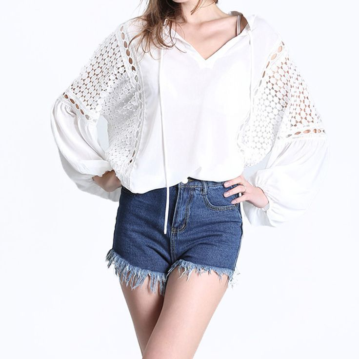 >> Click to Buy << 2017 Women Summer Lace-Up V Neck Chiffon Lace Hollow Out Brief White Long Sleeves Blouse Casual Loose Patchwork Solid Shirt Tops #Affiliate