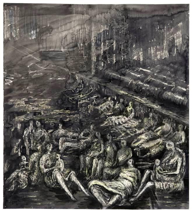 A Tilbury Shelter Scene  1941 by Henry Moore