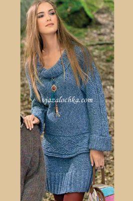 Kötött kék női kosztüm kötésminta leírással