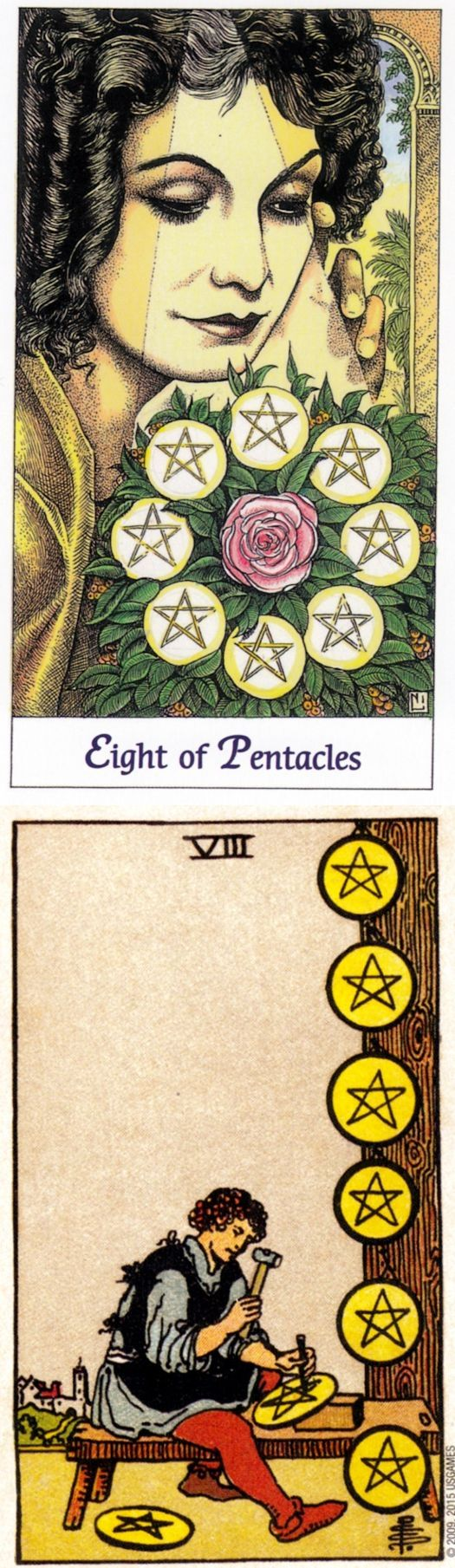 Eight of Pentacles: time to buckle down and study and lack of focus (reverse). Cosmic Tarot deck and Rider Centenial Tarot deck: tarot tarot, read my tarot cards online free and free relationship tarot. New divination aesthetic and paganism beliefs. #wicca #spell #tarotmeanings