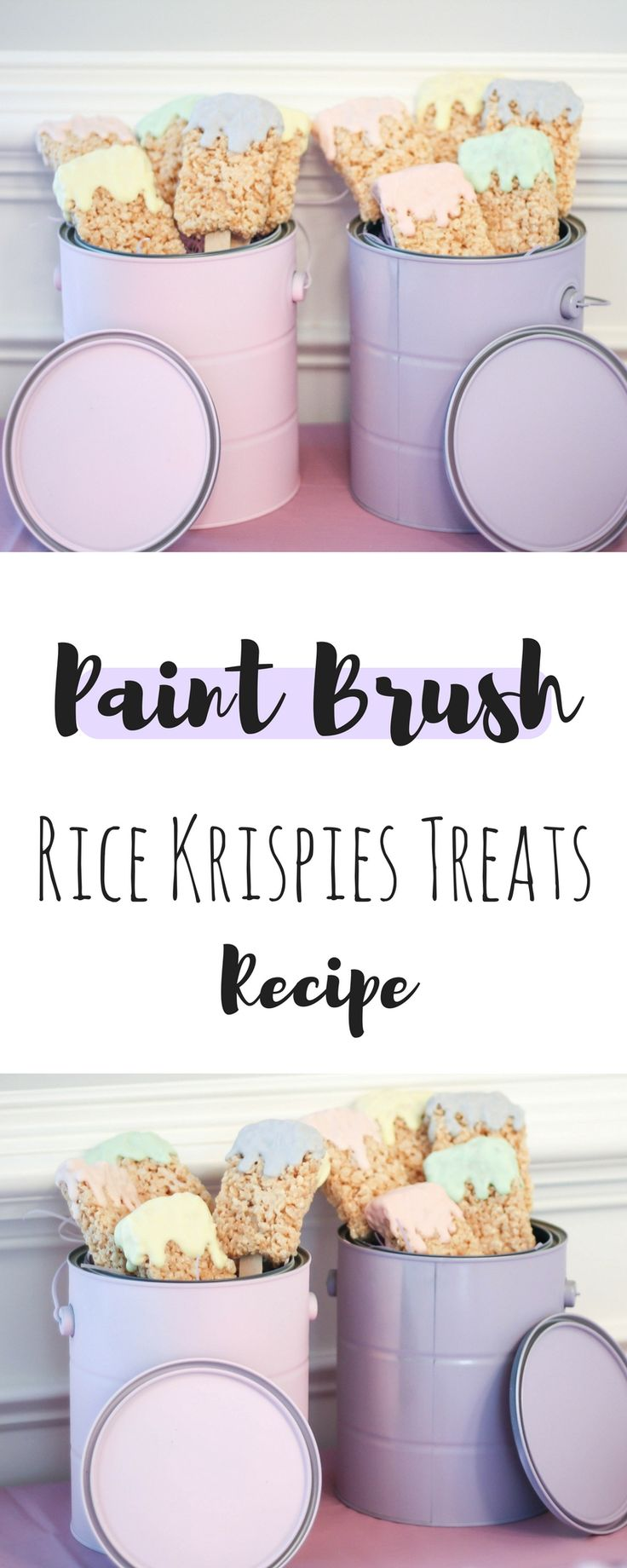 Easy DIY Paint Brush Rice Krispies Treats | Birthday Party Decor | Art Birthday Theme | Pastel Birthday Theme | Birthday Party Decor | Birthday Party Food | Birthday Desserts | Busy Little Izzy Blog