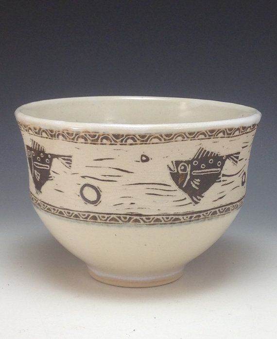 Designed Bowl with Sgraffito Fish Webb Pottery by webbpottery #sgraffito #bowl #fish #annewebb