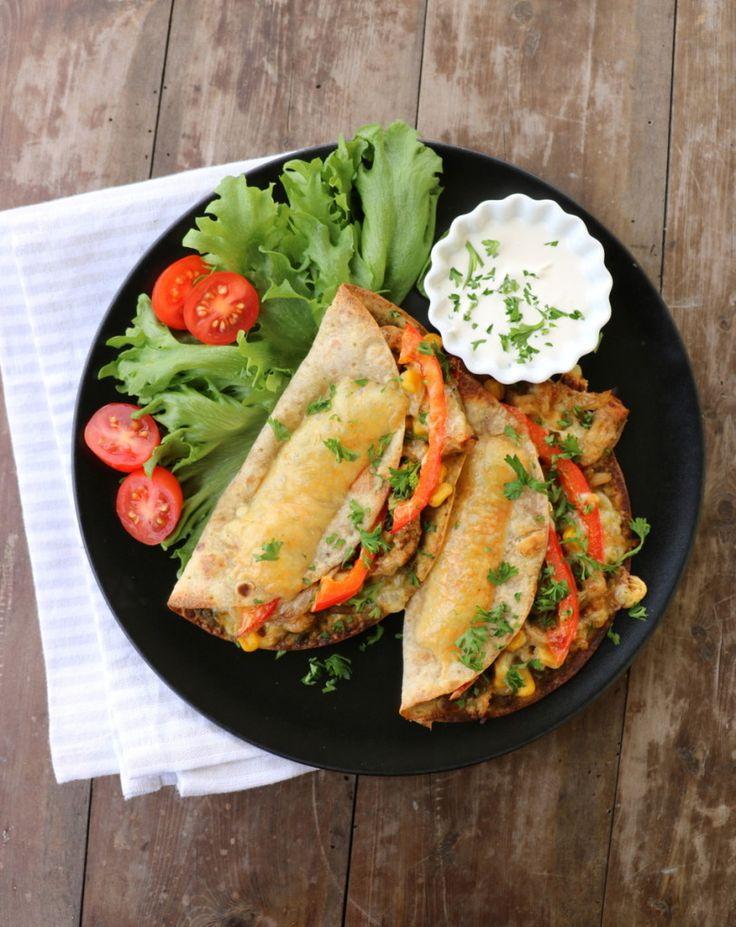 Quesedilla med kylling og pesto